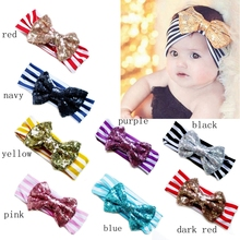New stripe sequin bowknot baby hairband