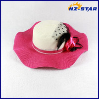 HZM-14233005 Pink wavy rolls beach vacation spring products girls summer hats