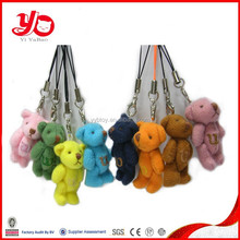 2015 hot selling and different color plush toy mini bear for key chain