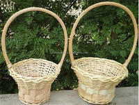 Colourful wicker gift basket for flower and fruit