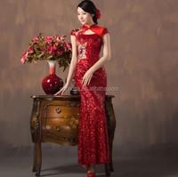 Z59722A newset ladies' fishtail dress toast clothing long Slim dress chinese Cheongsam