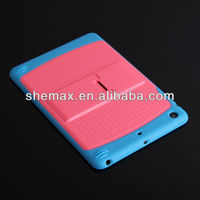 Contrast color Hard Silicone Back Cover Case with Stand Holder for ipad mini