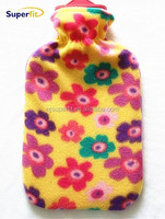 large hot water bag with fleece cover orange colourful six side flowers