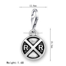 Stock Sale Antique Silver Plated Railroad Crossing Traffic Sign Charm Pendant With Lobster Clasp