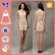 China supplier Women Summer Lace Dress Designs Hollow out Embroidery Patterns Half sleeve Lace dress for European and American