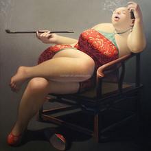 Chinese fat woman smoking the opium handmade oil painting