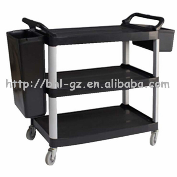 Guangzhou Hotel Supply Stainless Steel Movable Kitchen Storage Trolley Clearance Black With Baskets C260
