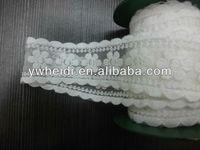 5cm lady mesh flower with 2 edges white cotton lace trim