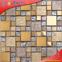 HTJ19 Best Selling Mosaic in Turkey Stainless Steel Mix Glass Mosaic Tiles