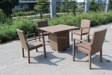 Good quality PE rattan wicker table and chair on promotion