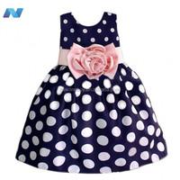 New Kids Girl's Wear Sweet Sundress Dot Floral Decor Bubble Dress Pleated Casual Slim Dress