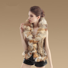 2015 most popular high quality kintted rabbit fur vest with fox fur collar