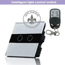 2 Llaves multipunto templado Vidrio Wireless Home Appliance interruptor teledirigido Negro / Blanco Fácil instalación ZMW11-227