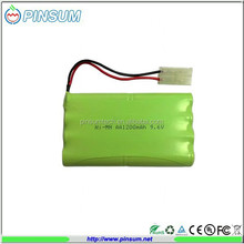 Rechargeable battery pack Ni-MH 9.6V AA1200mAh with wire and connector