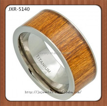 Mens Titanium Wedding Rings,Horizontal Pieces Wood Inlay Titanium Ring