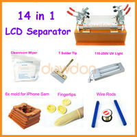 14 in 1 LCD Repair Machine for iPhone Samsung with UV Light/Moulds/Cut Line/Cleanroom Wipe/T Tip/Fingertips/Rods