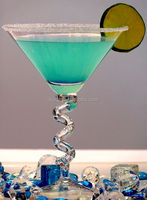 Crystal Clear Leadfree China Manufacture Martini Cocktail Glass with Spiral Stem