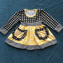2015 ney style baby polka dot top with belt and pocket dresses baby cute dress YW-156