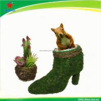 nice green moss shoes planter for garden decor