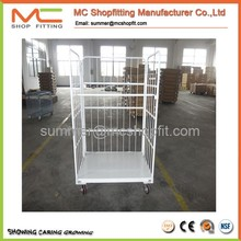 Hot sale L style folding metal warehouse logisitc moving mesh roll container roll cage with wheels
