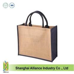 Laminated cheap jute shopping tote bag wholesale ALD847