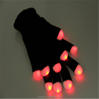 LED Gloves Unisex Flash Light Up Night Party Gloves White Gloves Toy With Different Colors