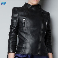 Women Outwear Motorcycle Tops Long Sleeve Leather Short Female Jacket Coat Black