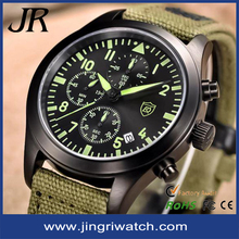 Fashion Army green men military watch sport style stainless case Japan movement waterproof butterfly buckle