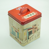 Custom square vintage tin boxes for cookies biscuit candy packaging
