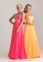 Fancy One Shoulder Ruffle Rhinestone Sweetheart Chiffon Maternity Prom Dresses 2014