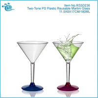 Two-Tone PS Plastic Reusable Martini Glass