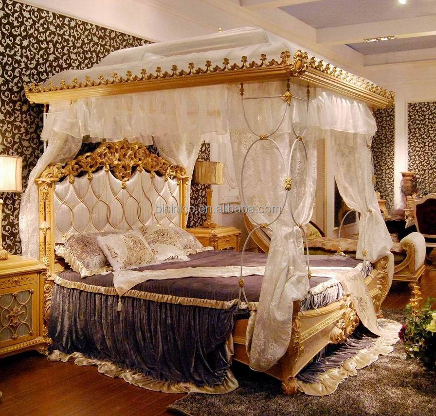 Luxury French Rococo Style Wood Carved Canopy Bed