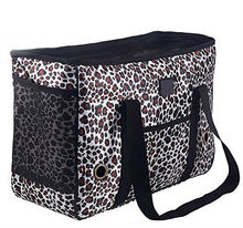 Mesh Windows Design Leopard Pet Shoulder Tote Dog Travel Bag with Removable Fleece Lined Mat