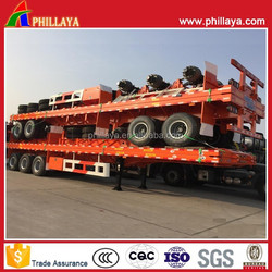China Manufacturer Tri Axle Trailers Flat Bed Type Semi Trailer with Container Locks