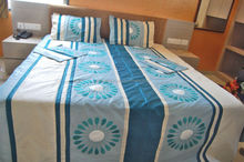 KTBC-10 Handcrafted Silk Embroidery work Bedroom Set / Duvet Covers With Matching Pillow and Cushion Covers Jaipur Textiles