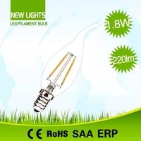 ERP certification highly bright 360 degree beam angle c35t2w 3000k globe led filament bulb