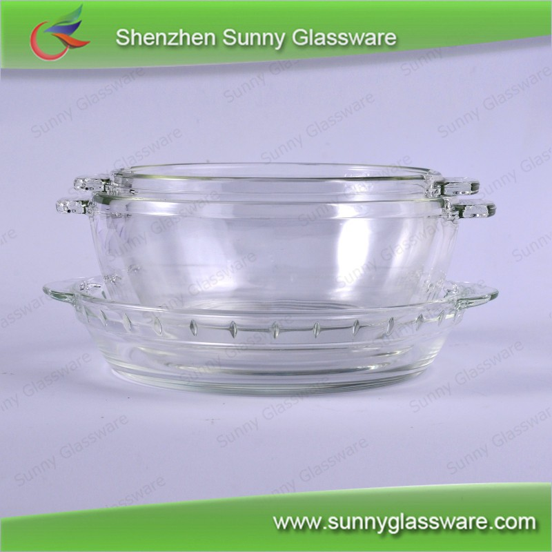 Transparent Pyrex Glass Baked Bowls with Lid Set