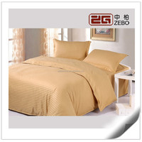 100% Cotton Colorful Top Quality 1cm Stripe Fabric Hotel Bed Collection