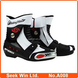Auto Racing Motor Botas Protective Motocross Shoes China Specialized Motorbike Boots Black Rde White A008