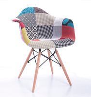 New Model Fabric And Wood Leg Plastic Chair