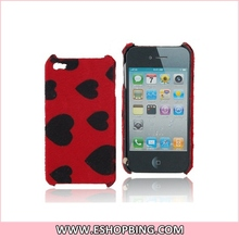 Love Heart Pattern Plush Protective Back Skin Case Cover Shell for iphone 4G