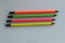Triangle Black wooden HB pencils with fluorescent painting and easer