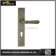 China high quality nice design AB finished zinc alloy door handle with plate