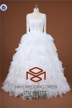 Puffy Princess SHMY-W0046 Organza Layered Beaded Long Sleeve Floor Length Ball Gown Wedding Dress