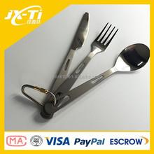 Titanio 3-in-1 apribile coltello cucchiaio e forchetta set posate utensili da cucina esterna attrezzi da campeggio escursionismo
