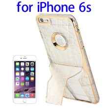 Net Pattern Electroplating Frame Plastic Protective Case for iPhone 6s with Holder