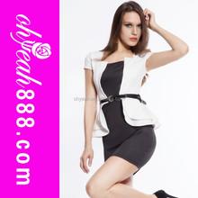 New fashion elegant office black and white dress