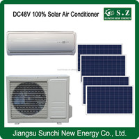 DC48V 100% split wall variable speed solar air conditioning & how to make solar panels