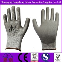 CE EN388 4544 HPPE PU COATED CRINKLE ANTI CUT RESISTANT GLOVE FOR GLASS