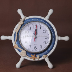 table decoration helmsman clock with seashell/old time craft/wood mediterranean decoration